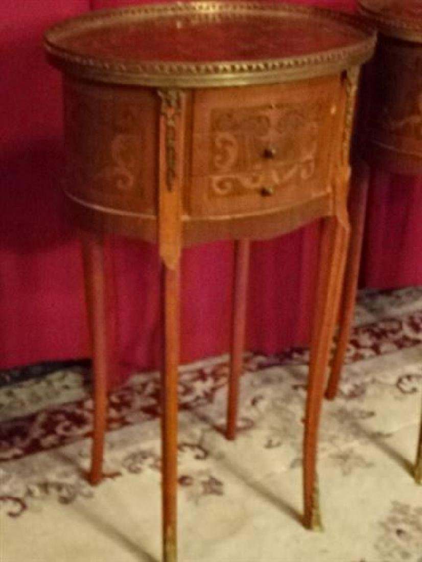 PAIR MARQUETRY LOUIS XVI STYLE TABLES, OVAL WITH 3 - 2