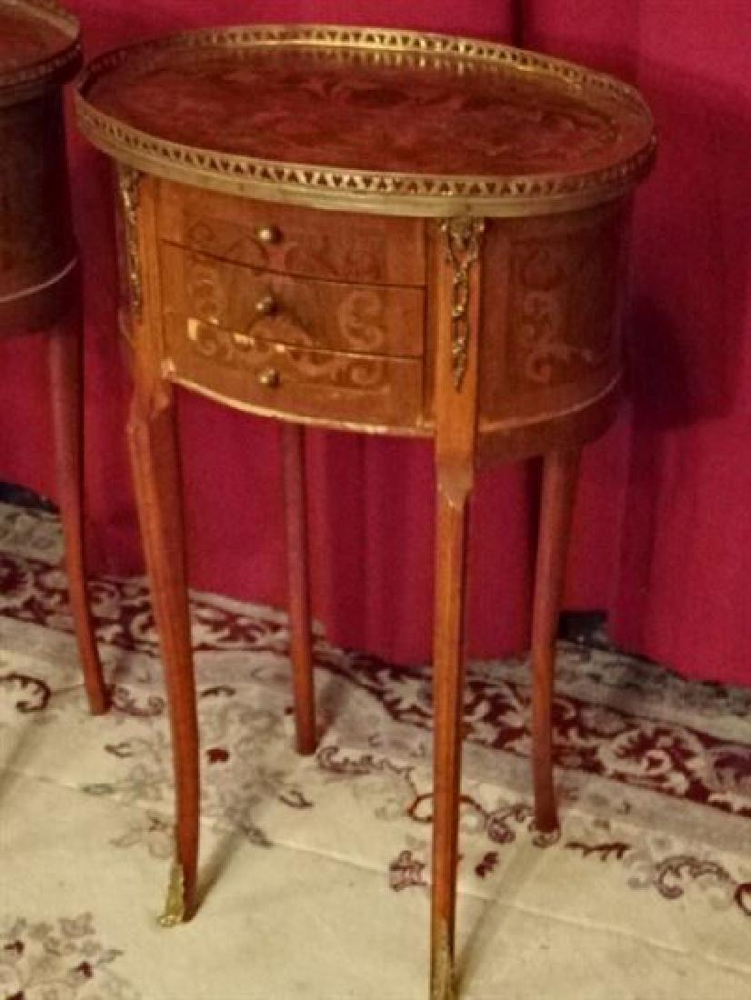 PAIR MARQUETRY LOUIS XVI STYLE TABLES, OVAL WITH 3 - 3