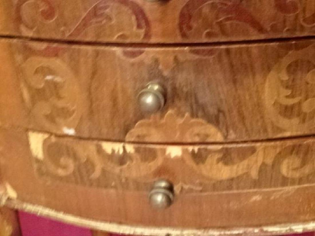 PAIR MARQUETRY LOUIS XVI STYLE TABLES, OVAL WITH 3 - 5