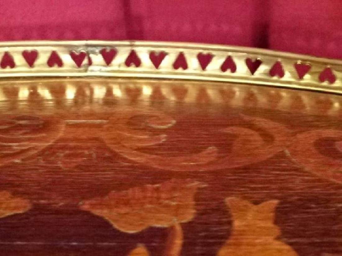 PAIR MARQUETRY LOUIS XVI STYLE TABLES, OVAL WITH 3 - 6