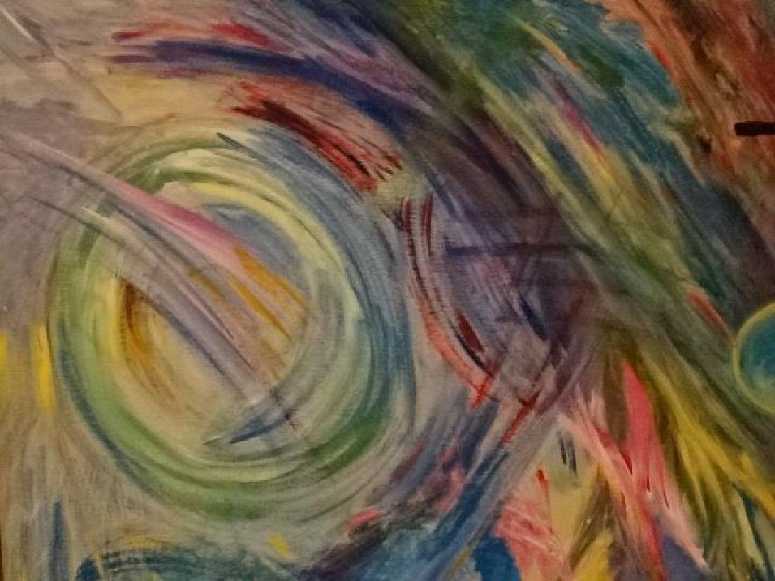 LARGE ABSTRACT OIL ON CANVAS PAINTING, UNSIGNED, VERY - 4