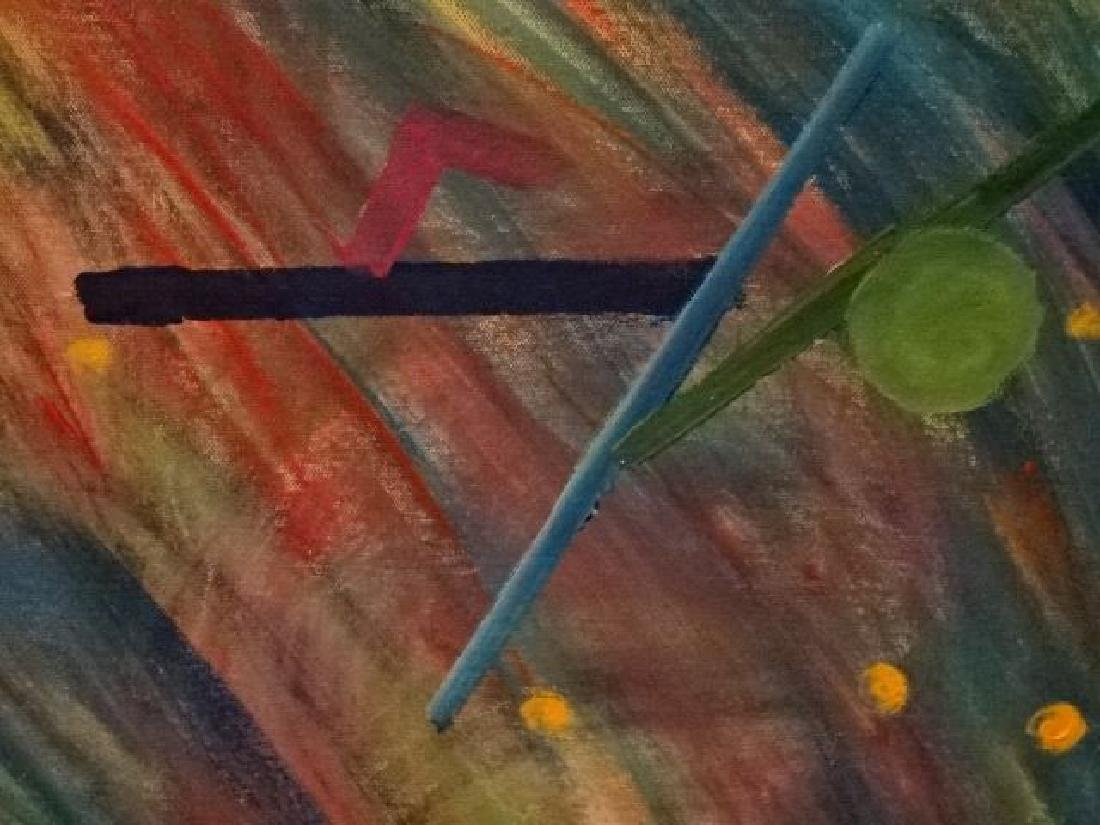 LARGE ABSTRACT OIL ON CANVAS PAINTING, UNSIGNED, VERY - 6