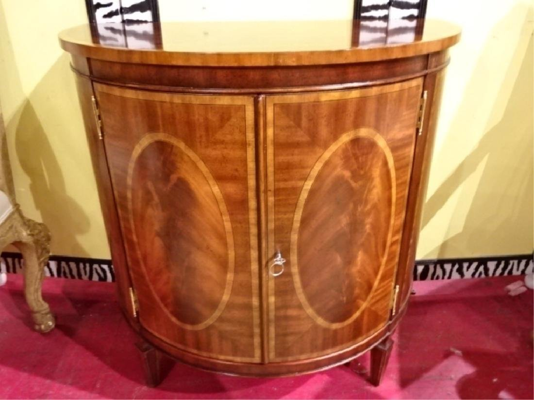 REGENCY STYLE MAHOGANY DEMI LUNE CABINET WITH INLAID