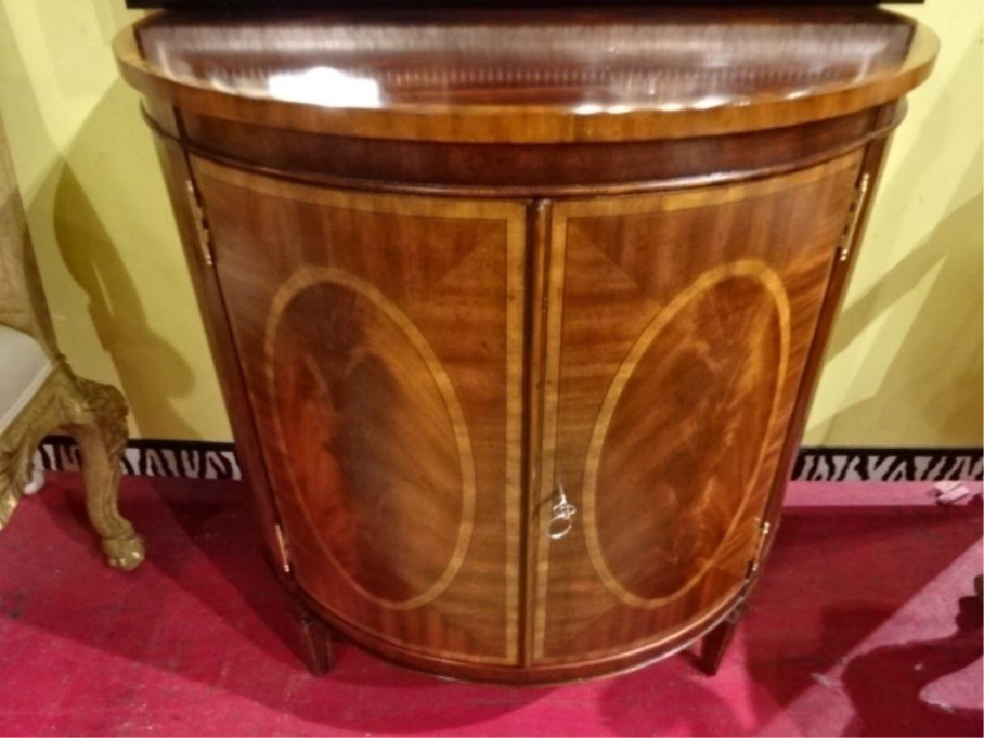 REGENCY STYLE MAHOGANY DEMI LUNE CABINET WITH INLAID - 2