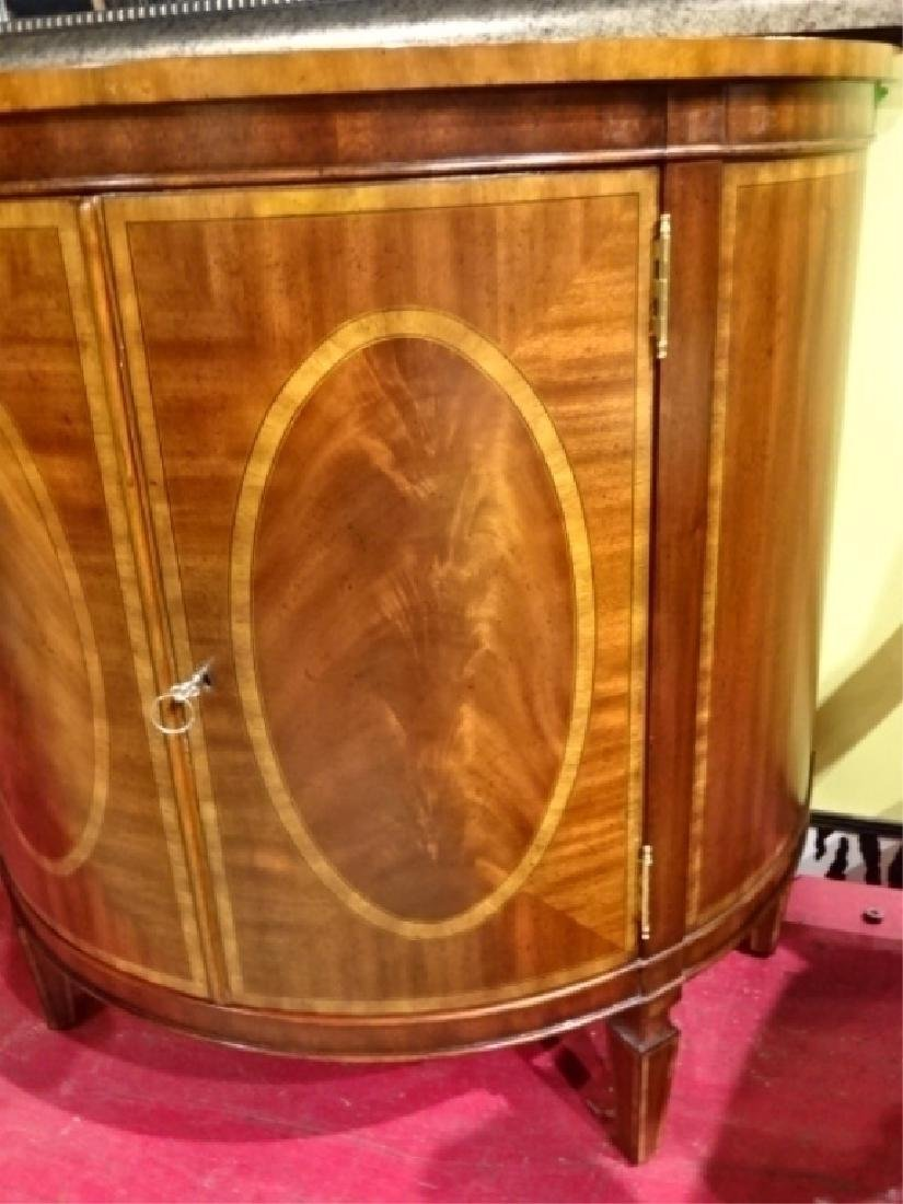 REGENCY STYLE MAHOGANY DEMI LUNE CABINET WITH INLAID - 3