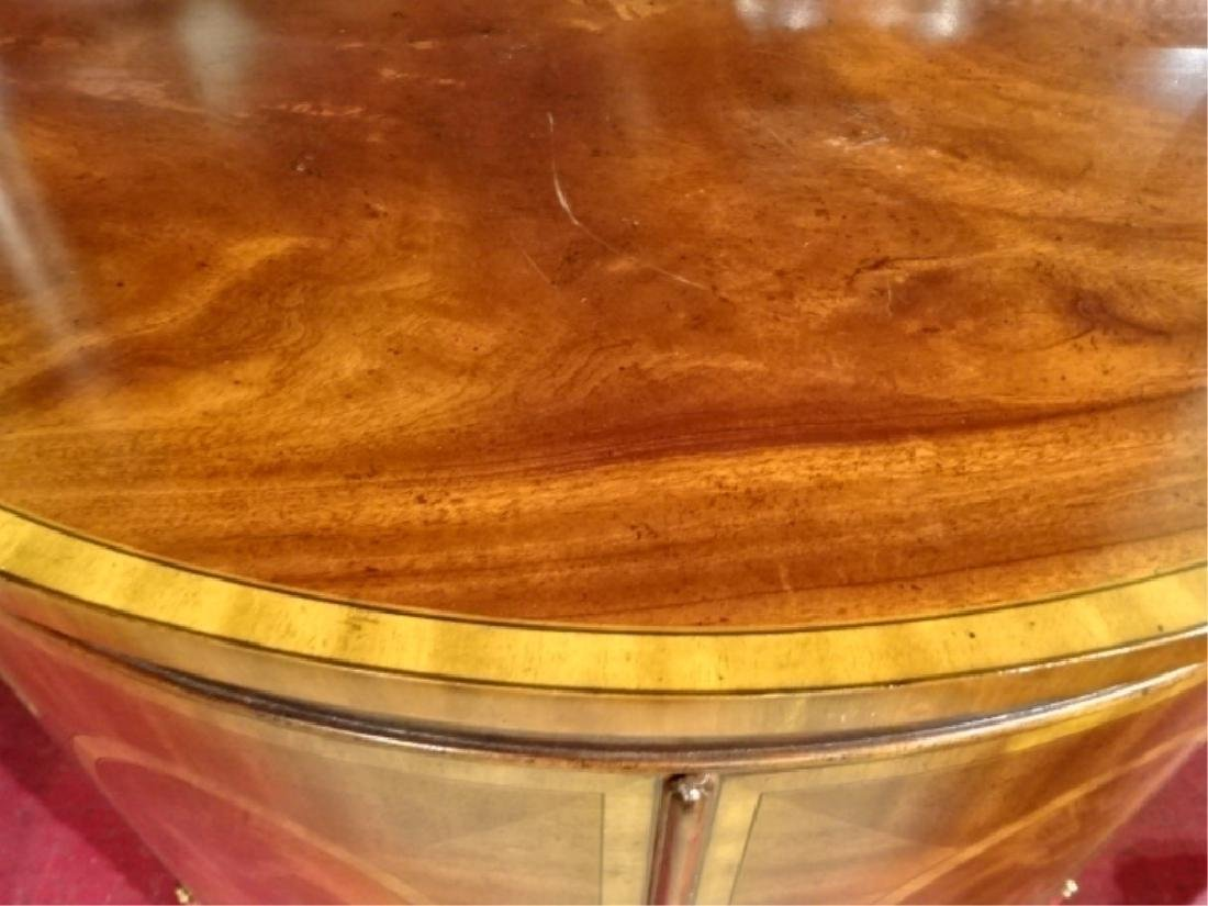 REGENCY STYLE MAHOGANY DEMI LUNE CABINET WITH INLAID - 4