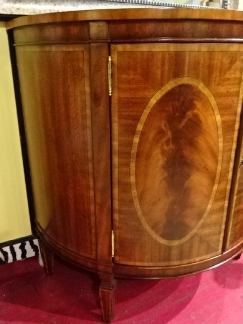 REGENCY STYLE MAHOGANY DEMI LUNE CABINET WITH INLAID - 5