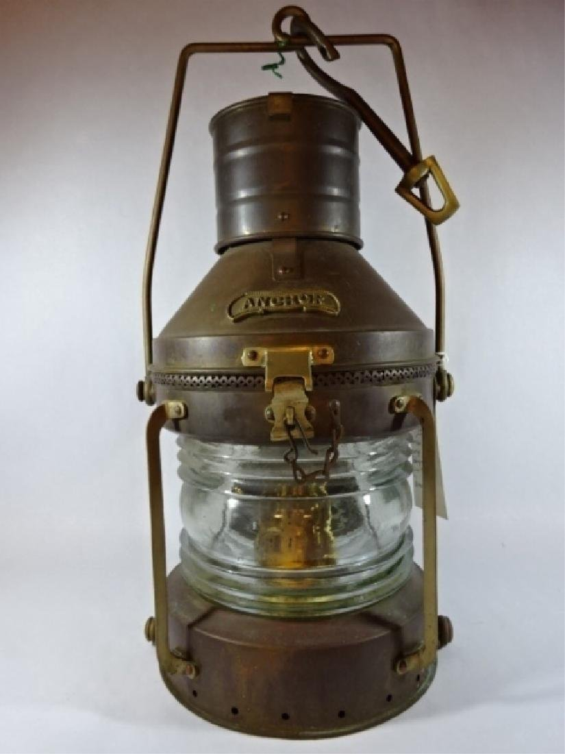 19TH C. ANCHOR BRASS HANGING SHIP'S OIL LAMP, HEAVY
