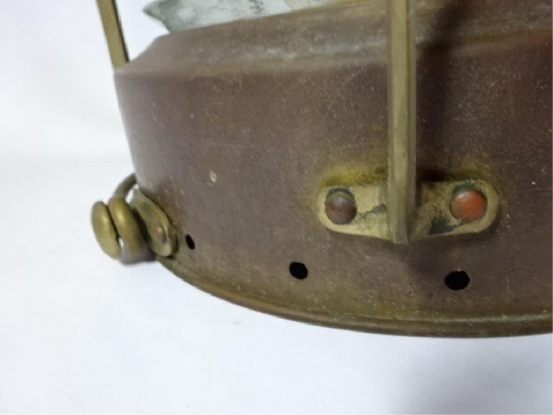 19TH C. ANCHOR BRASS HANGING SHIP'S OIL LAMP, HEAVY - 7