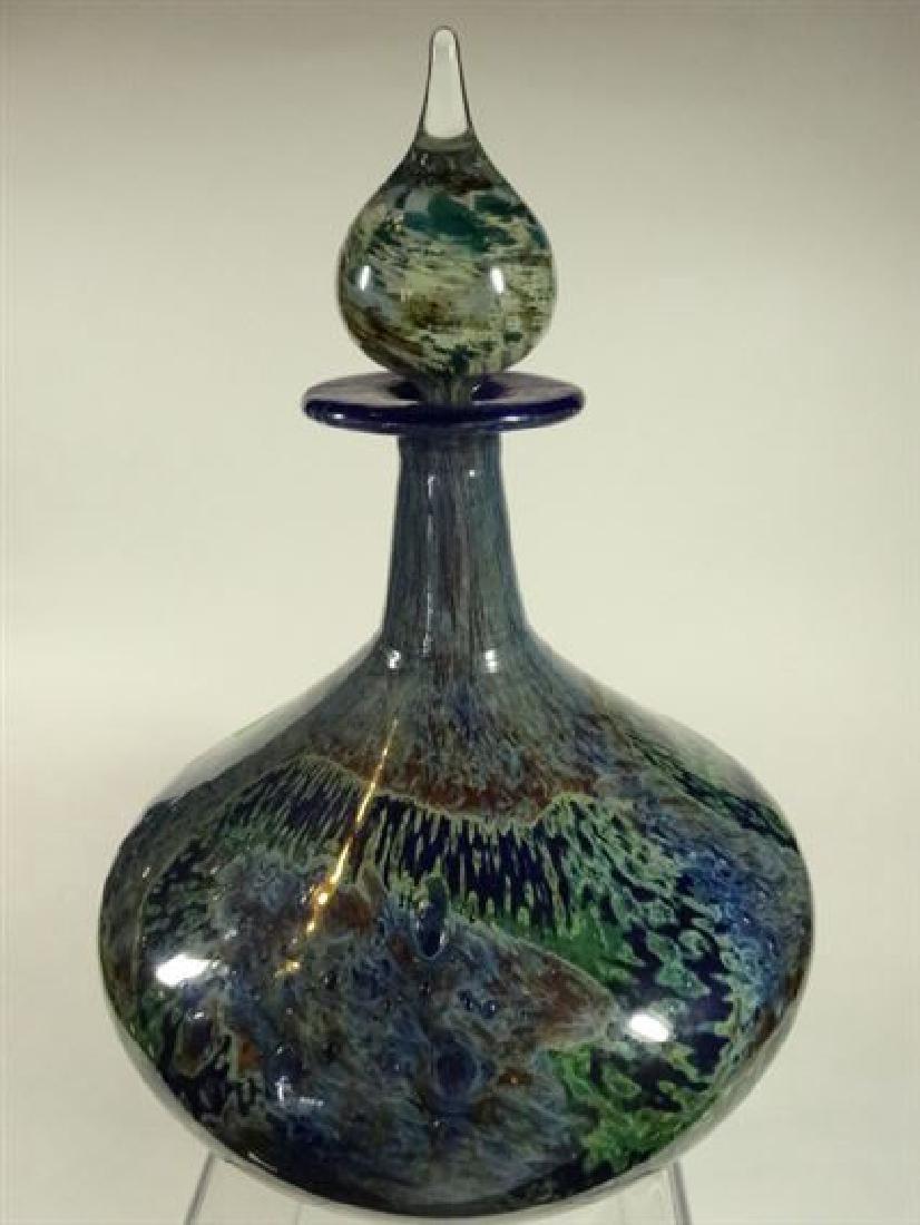 MDINA GLASS MALTESE ART GLASS BOTTLE WITH STOPPER, - 8