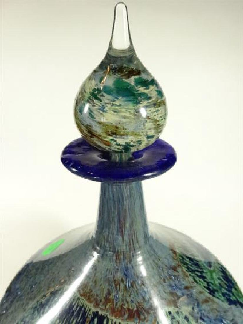 MDINA GLASS MALTESE ART GLASS BOTTLE WITH STOPPER, - 9