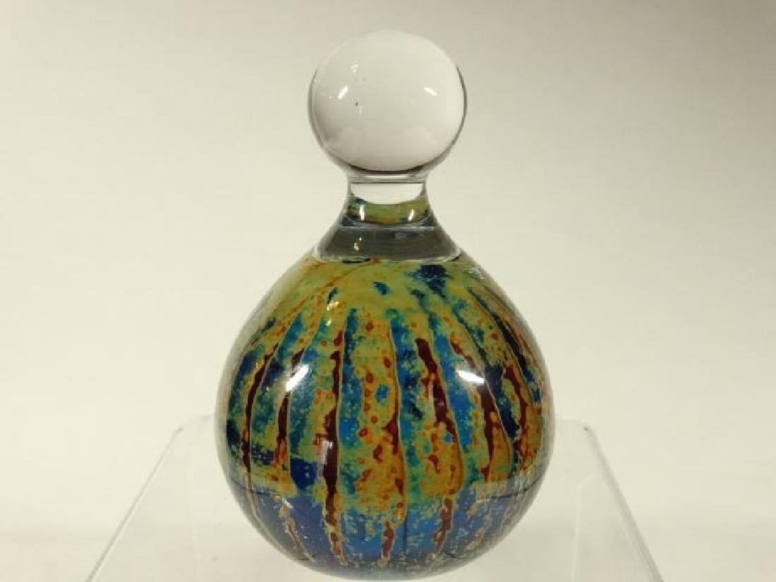 MDINA MALTESE ART GLASS PAPERWEIGHT, BLUE, GREEN, CLEAR