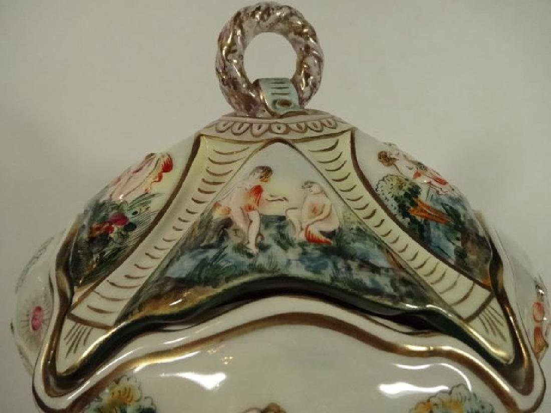 ITALIAN CAPODIMONTE PORCELAIN FOOTED BOWL WITH LID, - 3