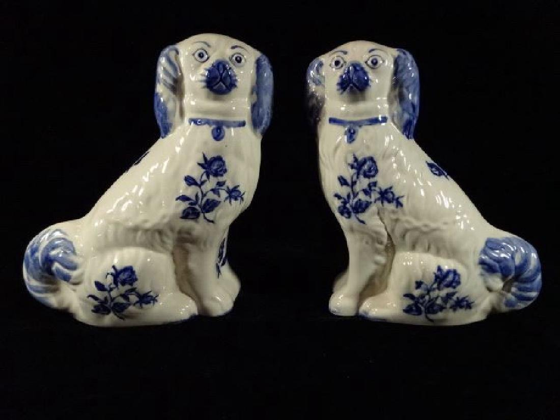 PAIR STAFFORDSHIRE STYLE DOGS, BLUE AND WHITE, REPLICA,