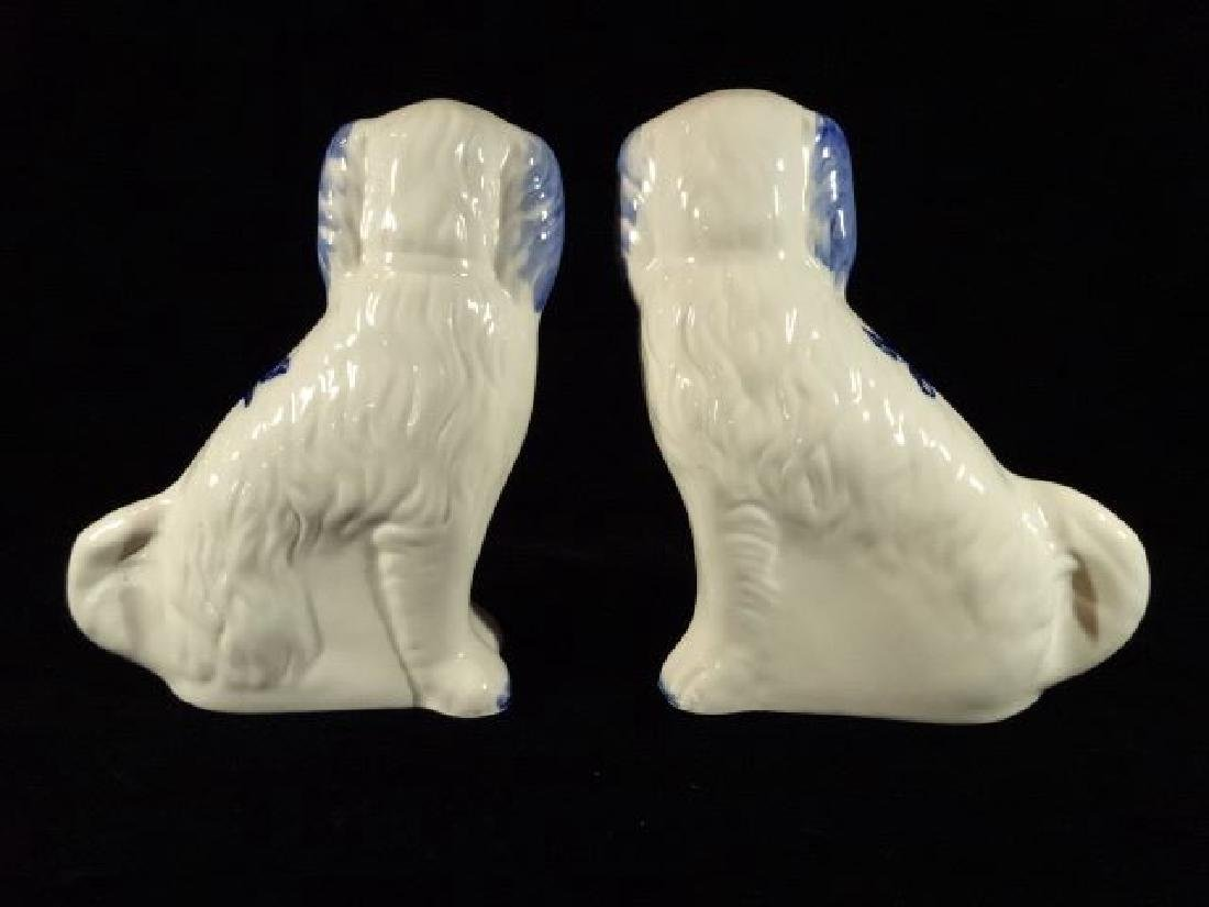 PAIR STAFFORDSHIRE STYLE DOGS, BLUE AND WHITE, REPLICA, - 9