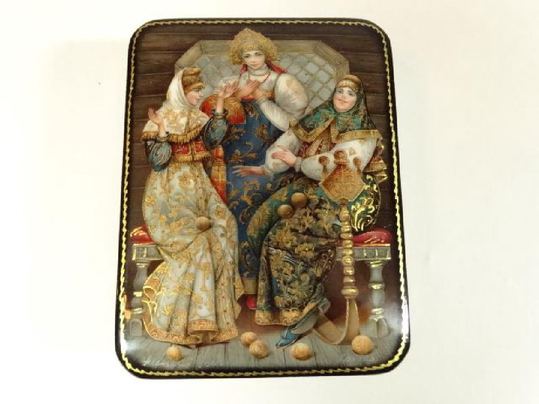 5 PC RUSSIAN LACQUERED BOXES, HAND PAINTED, ARTIST - 3