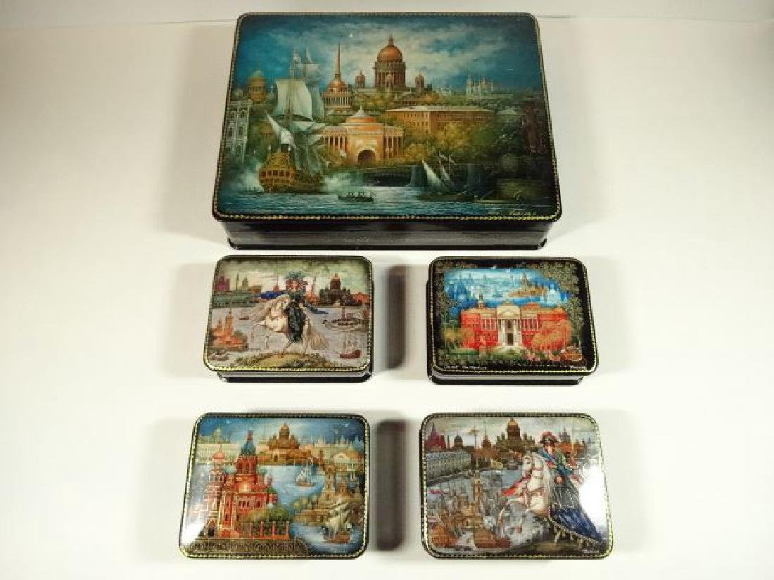 5 PC RUSSIAN LACQUERED BOXES, HAND PAINTED, ARTIST