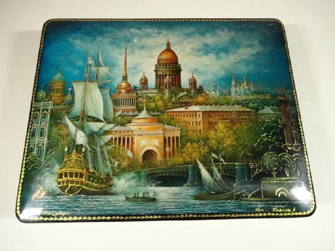 5 PC RUSSIAN LACQUERED BOXES, HAND PAINTED, ARTIST - 2