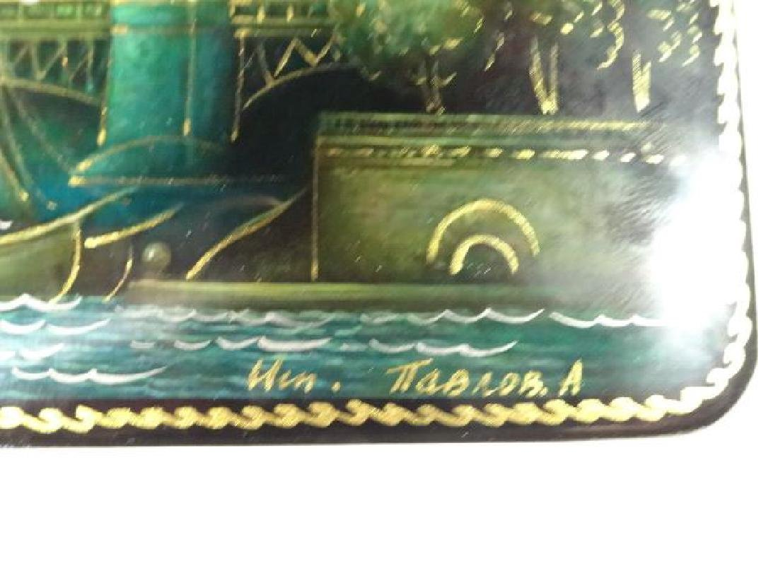 5 PC RUSSIAN LACQUERED BOXES, HAND PAINTED, ARTIST - 7