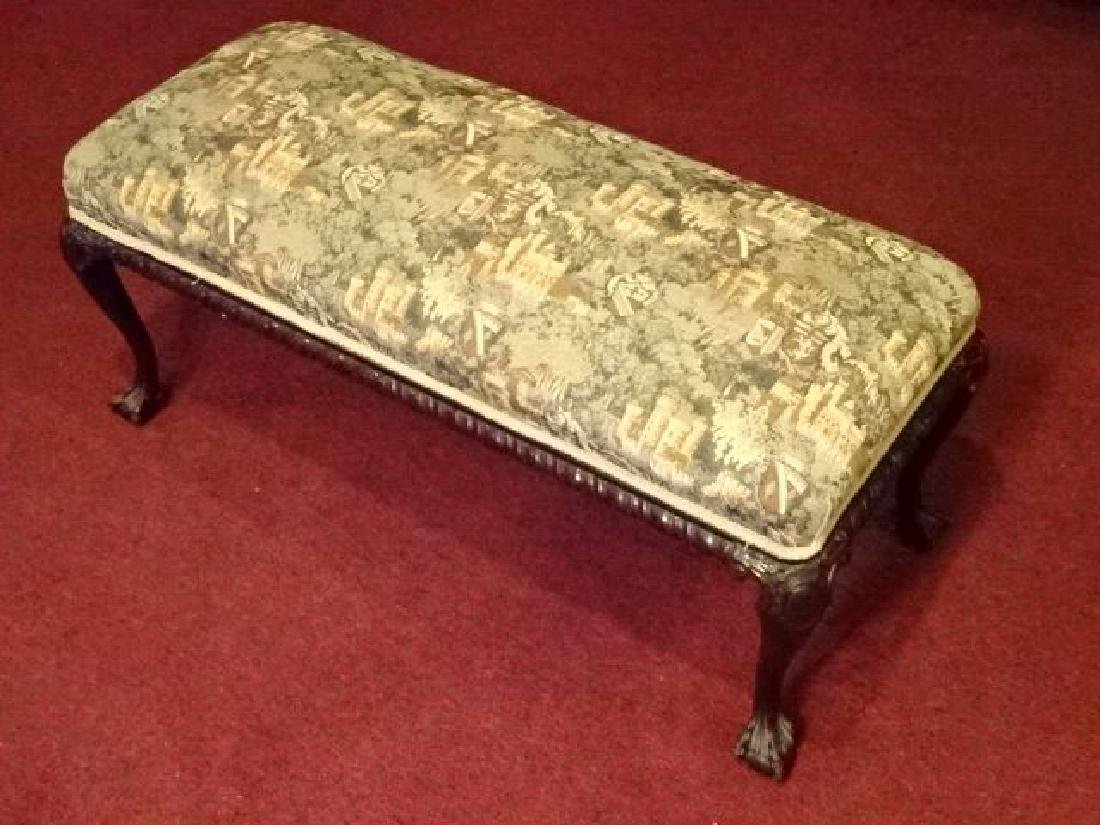 CHIPPENDALE STYLE MAHOGANY BENCH, BALL AND CLAW FEET,