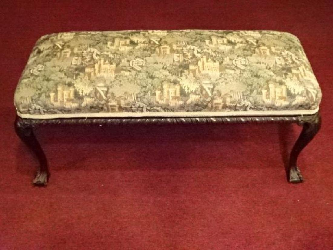 CHIPPENDALE STYLE MAHOGANY BENCH, BALL AND CLAW FEET, - 2