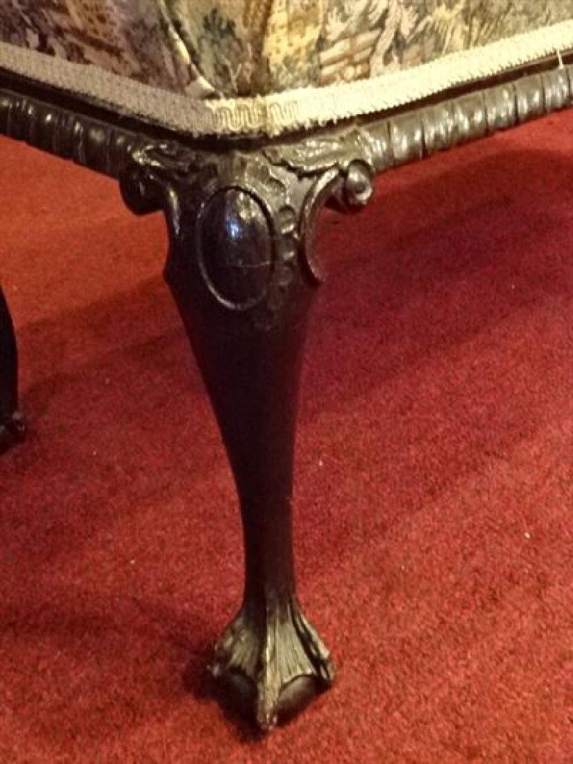 CHIPPENDALE STYLE MAHOGANY BENCH, BALL AND CLAW FEET, - 3