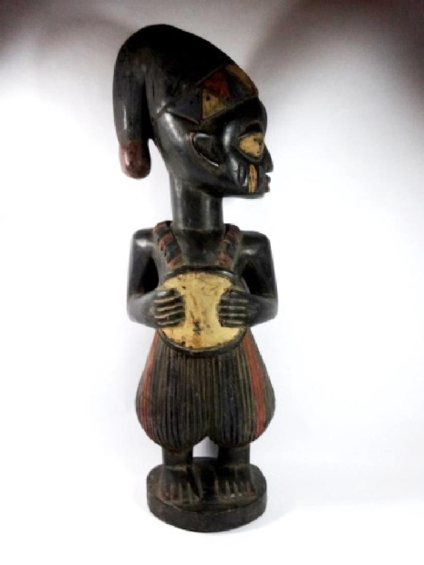 AFRICAN CARVED WOOD SCULPTURE, STANDING MAN, PAINTED