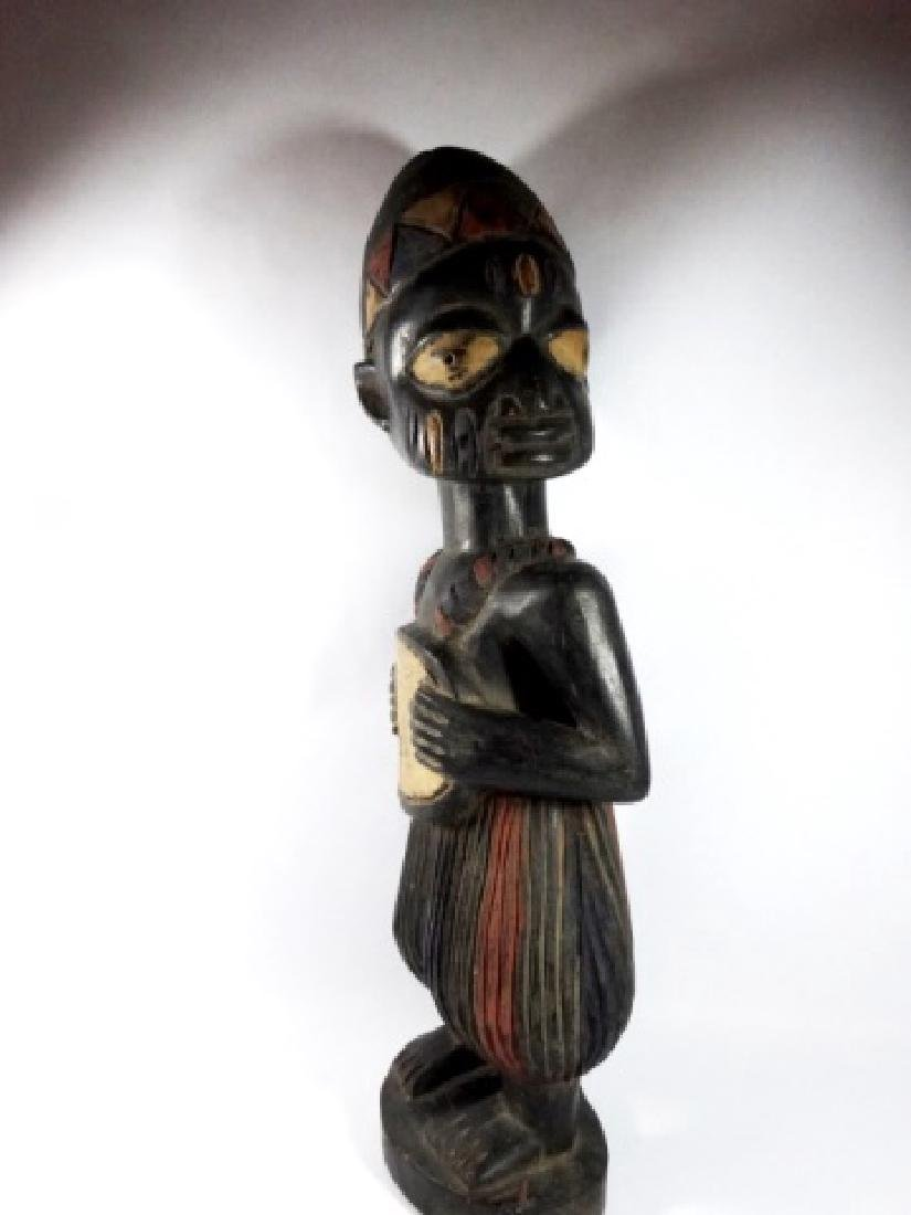AFRICAN CARVED WOOD SCULPTURE, STANDING MAN, PAINTED - 3