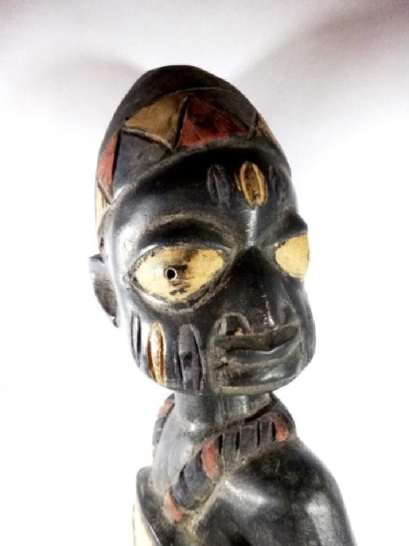 AFRICAN CARVED WOOD SCULPTURE, STANDING MAN, PAINTED - 4