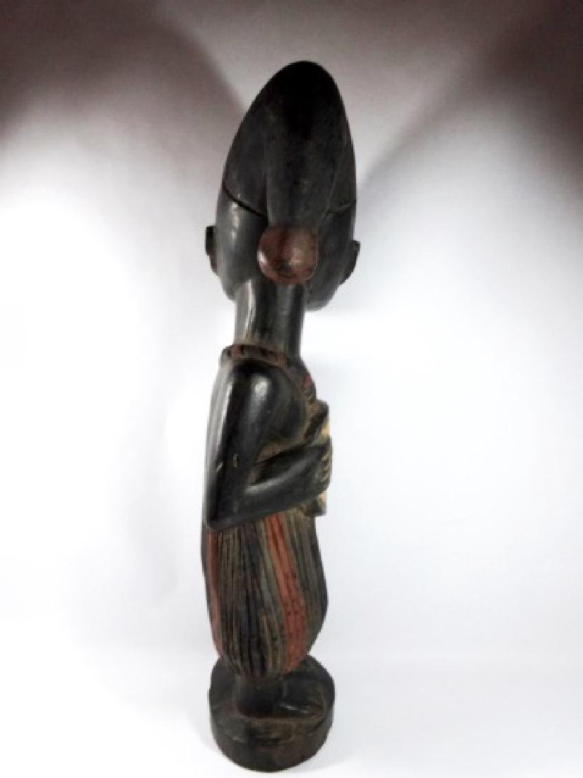 AFRICAN CARVED WOOD SCULPTURE, STANDING MAN, PAINTED - 6
