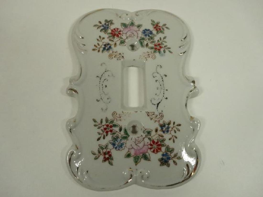 PORCELAIN SWITCH PLATE WITH PAINTED FLORALS, WITH