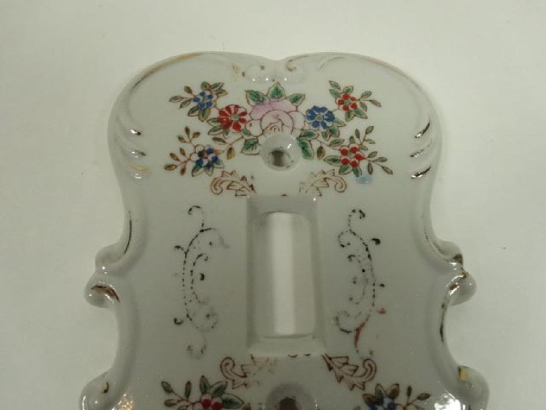 PORCELAIN SWITCH PLATE WITH PAINTED FLORALS, WITH - 3