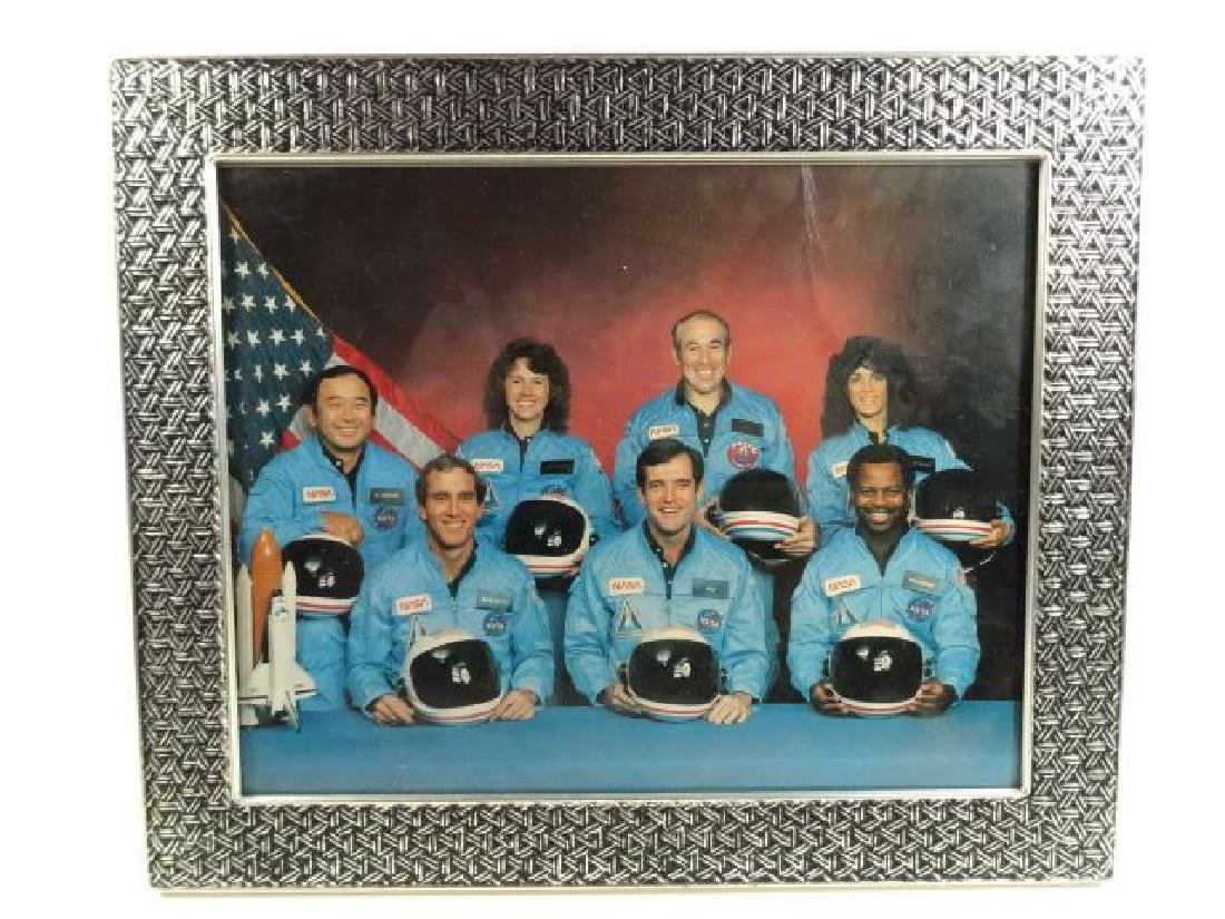 FRAMED PHOTOGRAPH, CHALLENGER SPACE SHUTTLE ASTRONAUTS,
