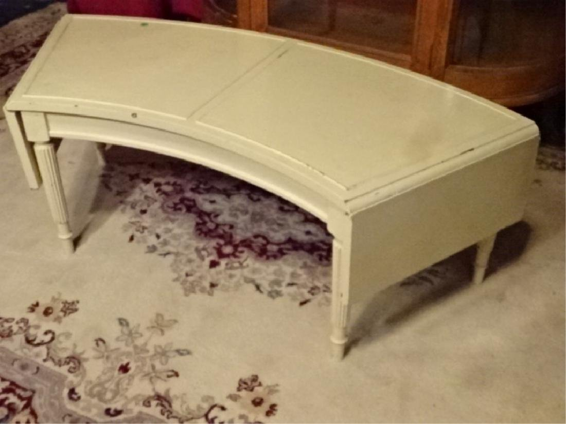 VINTAGE WHITE PAINTED DROPLEAF COFFEE TABLE, FLUTED