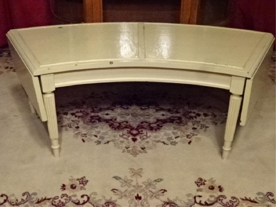 VINTAGE WHITE PAINTED DROPLEAF COFFEE TABLE, FLUTED - 2