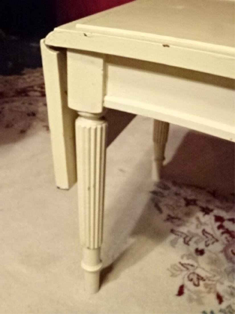 VINTAGE WHITE PAINTED DROPLEAF COFFEE TABLE, FLUTED - 3