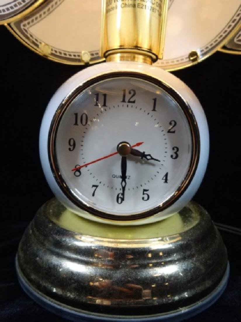 VINTAGE LAMP WITH CLOCK IN BASE, CLOCK WORKS, APPROX - 3
