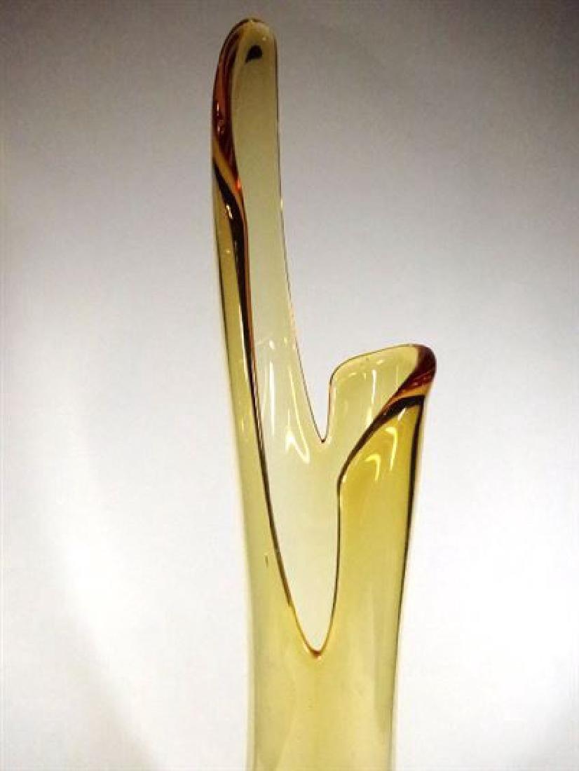 TALL MID CENTURY AMBER GLASS VASE, CIRCA 1950's / - 4