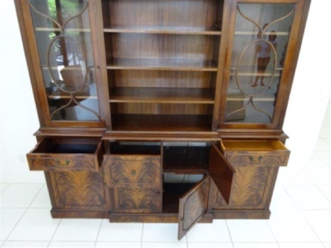 FLAME MAHOGANY BREAKFRONT BOOKCASE / BIBLIOTHEQUE, OPEN - 2