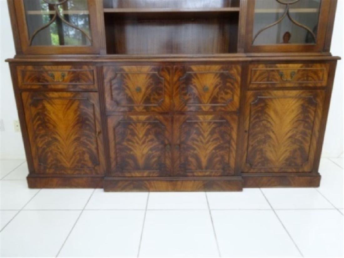 FLAME MAHOGANY BREAKFRONT BOOKCASE / BIBLIOTHEQUE, OPEN - 3