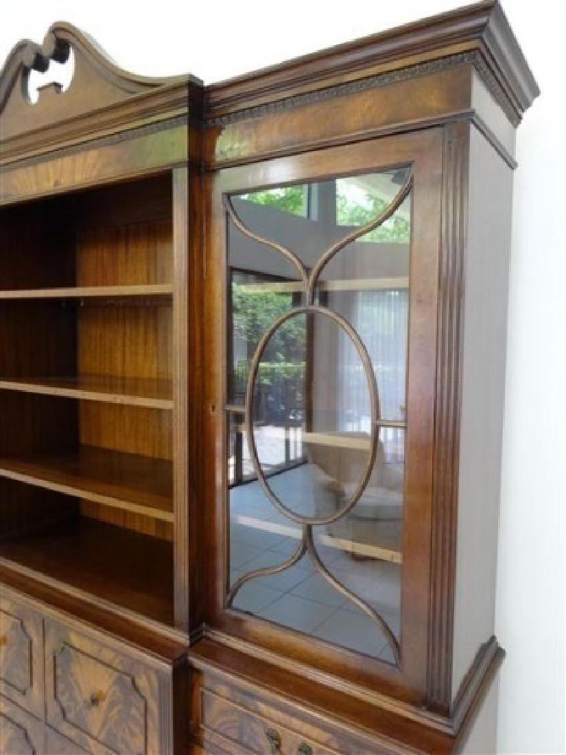 FLAME MAHOGANY BREAKFRONT BOOKCASE / BIBLIOTHEQUE, OPEN - 4