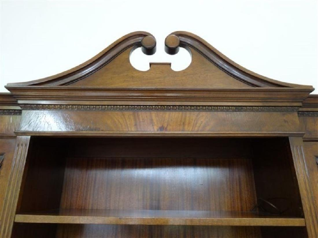 FLAME MAHOGANY BREAKFRONT BOOKCASE / BIBLIOTHEQUE, OPEN - 6