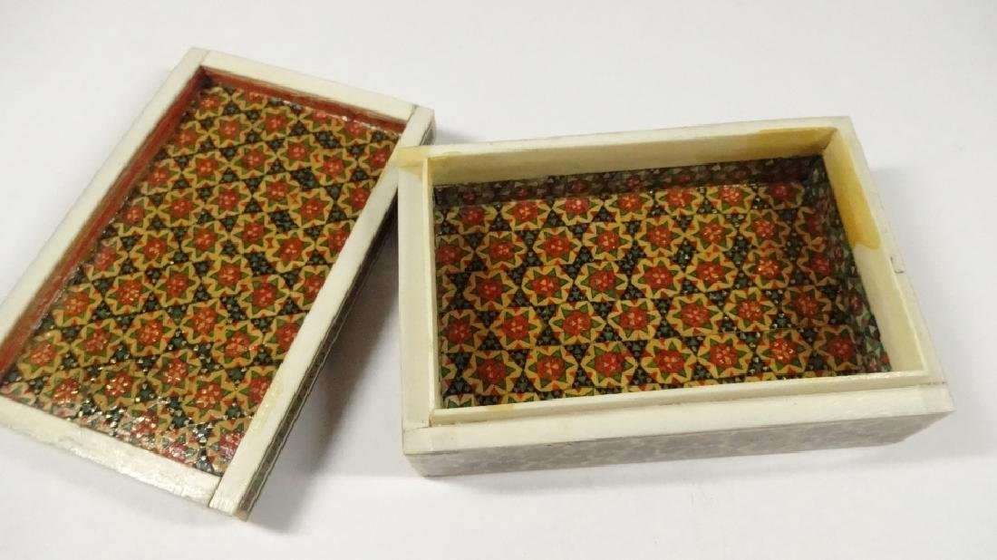 "BONE TRINKET BOX WITH STARS PATTERN, APPROX 1.5""H X 4"" - 4"