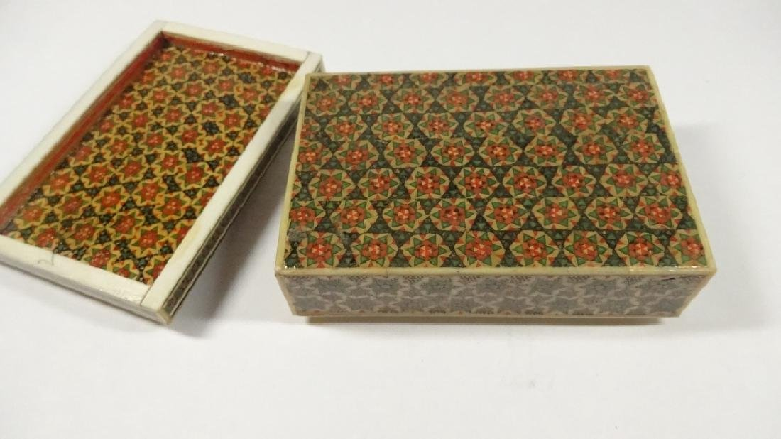"BONE TRINKET BOX WITH STARS PATTERN, APPROX 1.5""H X 4"" - 6"