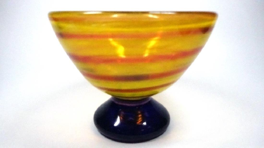 "ORANGE & PINK ART GLASS BOWL, APPROX 3 3/4"" X 5 7/8"""