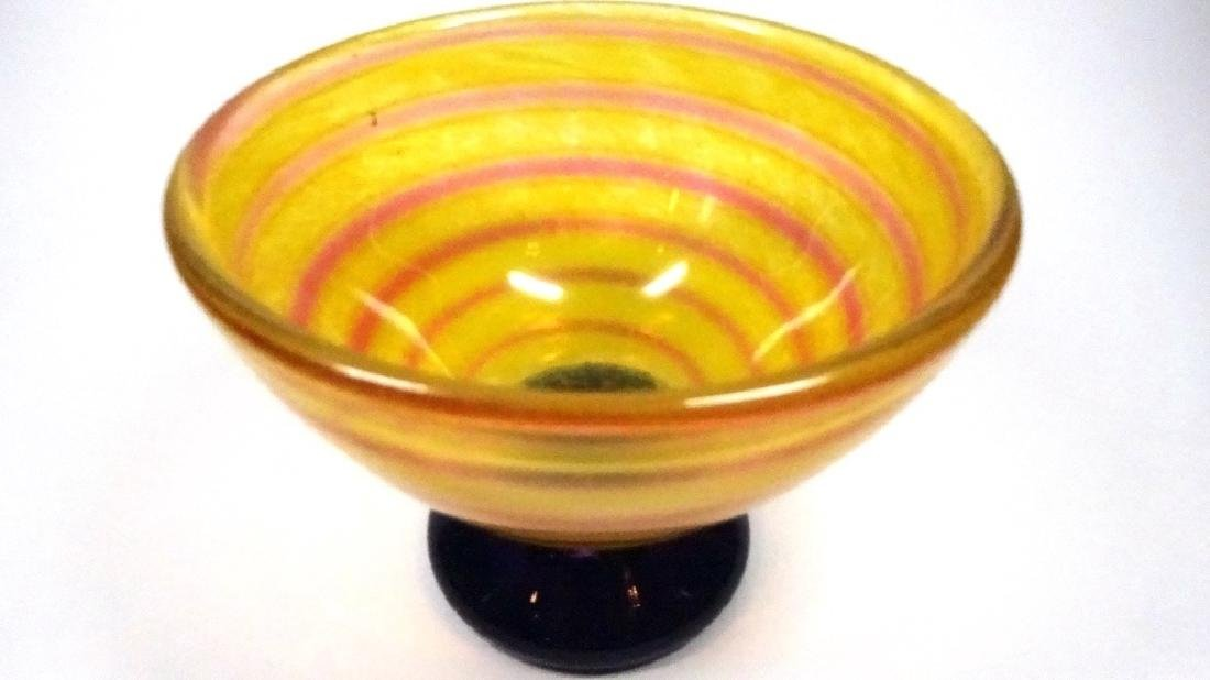 "ORANGE & PINK ART GLASS BOWL, APPROX 3 3/4"" X 5 7/8"" - 2"