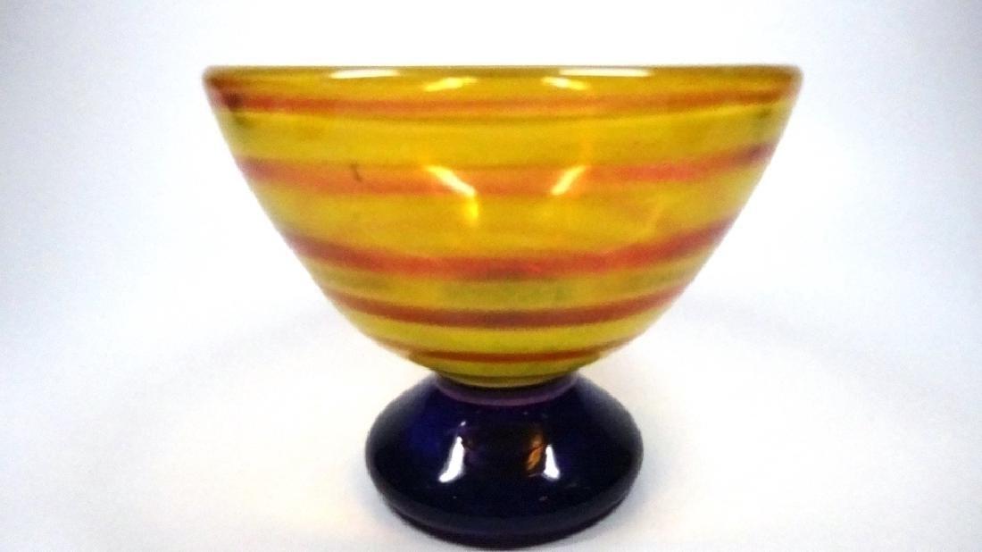 "ORANGE & PINK ART GLASS BOWL, APPROX 3 3/4"" X 5 7/8"" - 3"