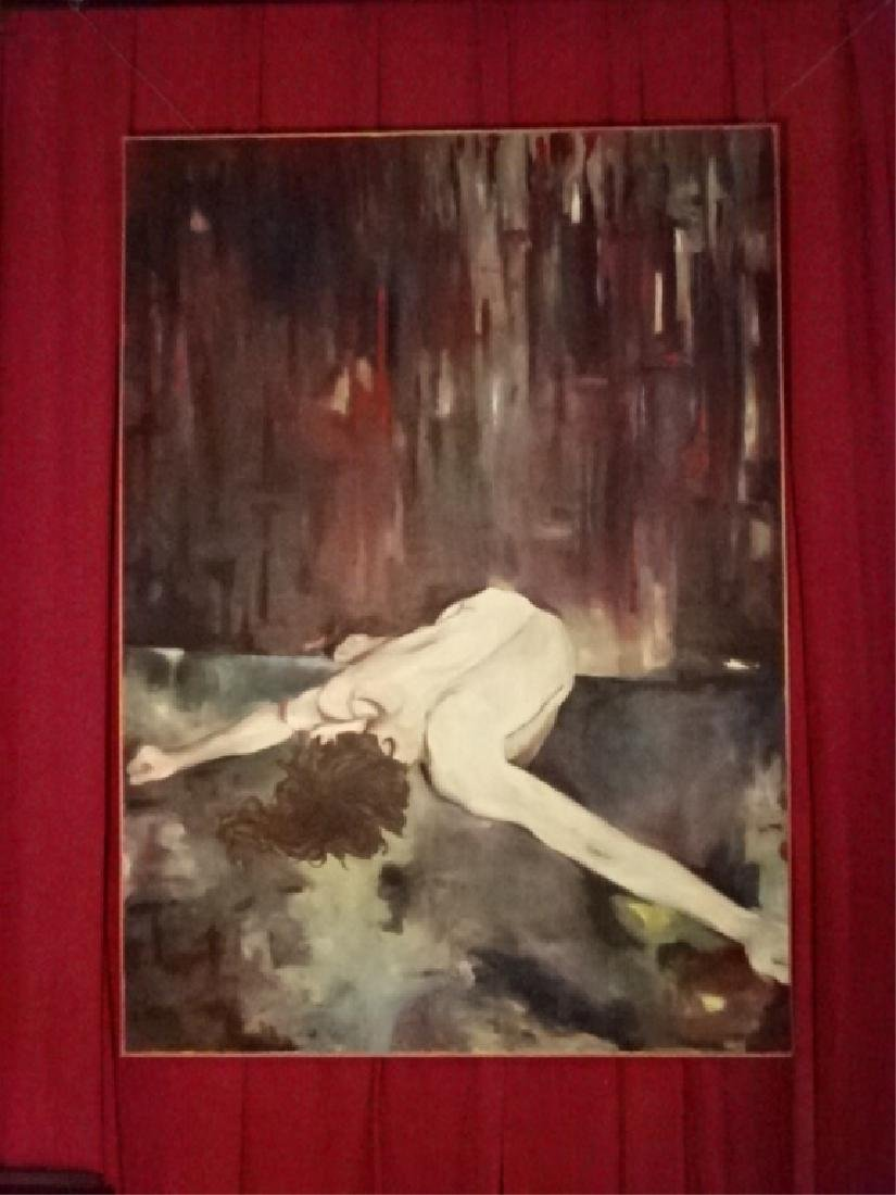 HUGE 7 FT OIL ON CANVAS EXPRESSIONIST PAINTING, NUDE