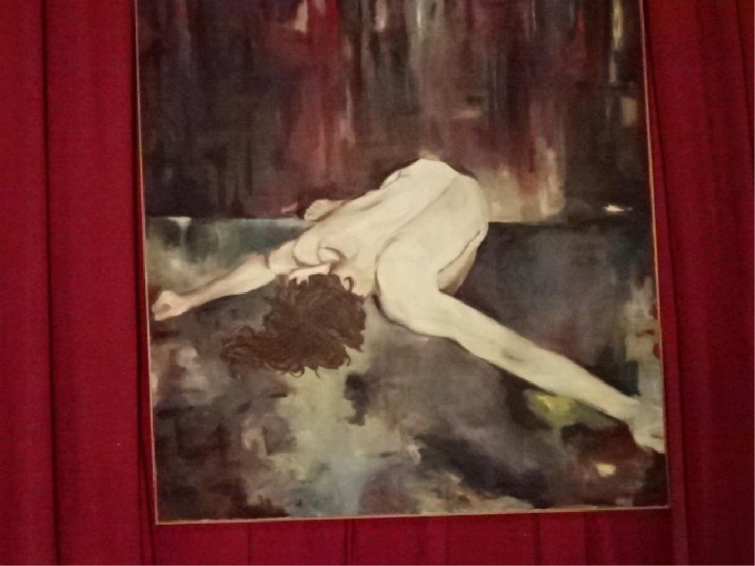 HUGE 7 FT OIL ON CANVAS EXPRESSIONIST PAINTING, NUDE - 2