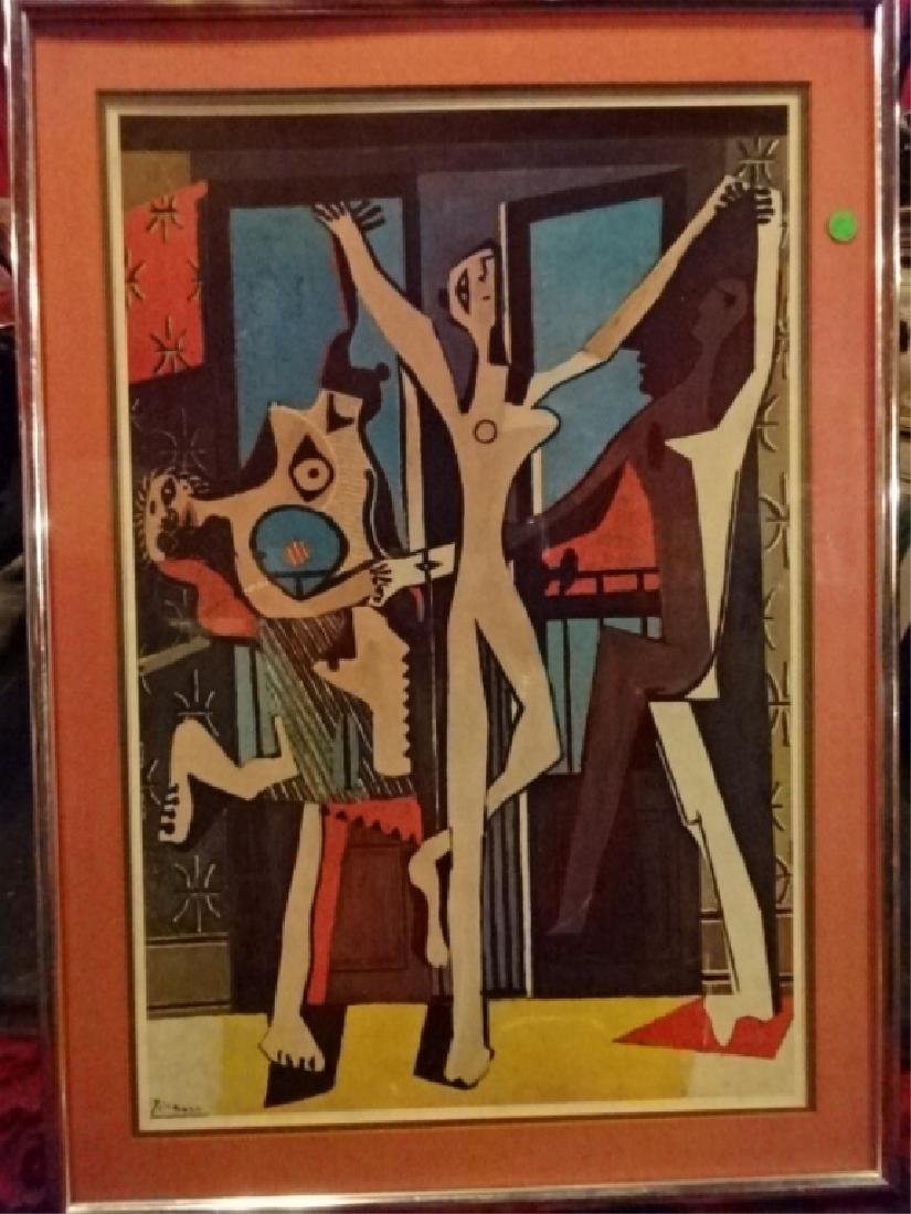 AFTER PABLO PICASSO PRINT, THREE DANCERS, FRAMED,
